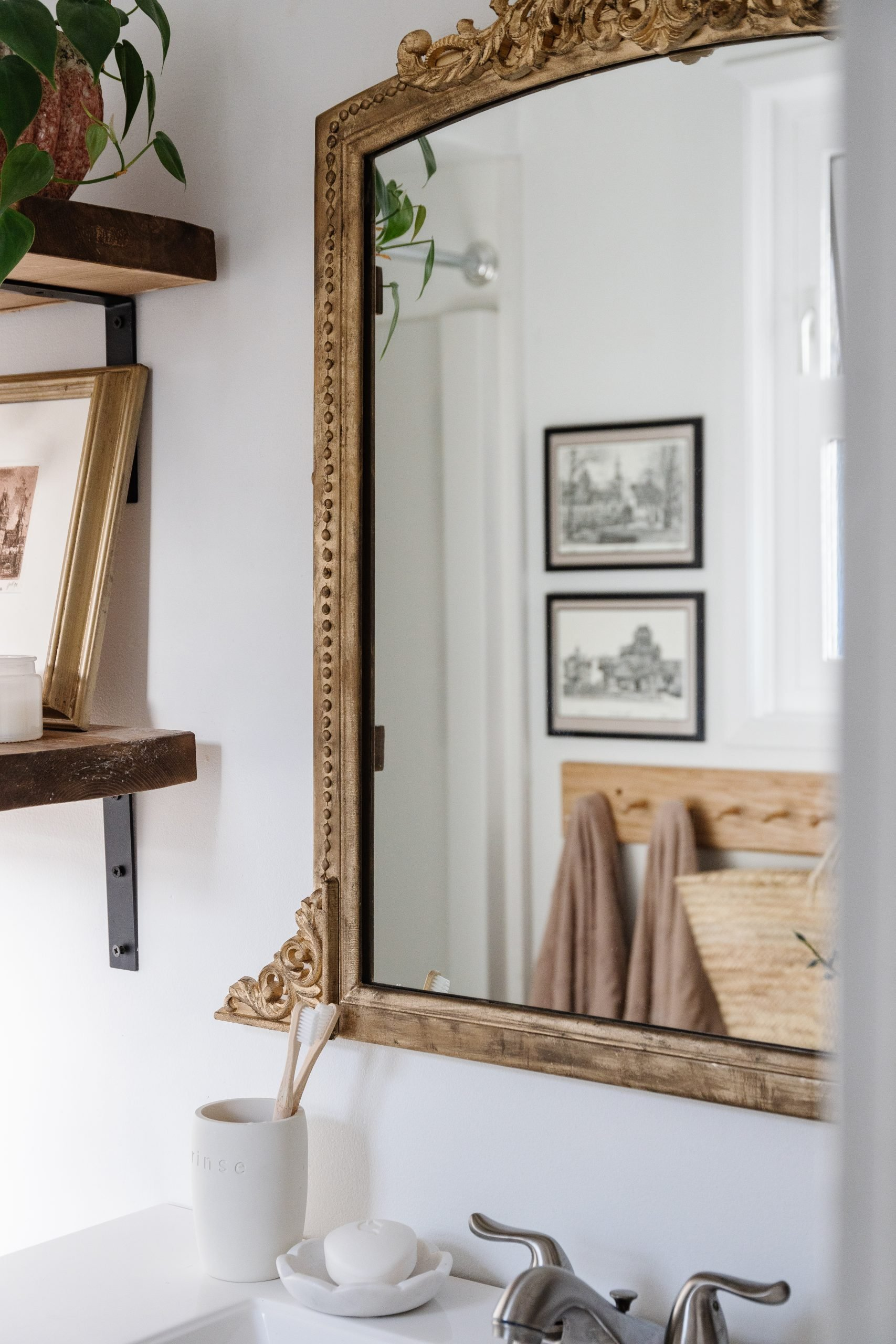 The easiest DIY Anthropologie Gleaming Primrose Mirror. How I made mine and what wooden appliqués I bought to get this look.