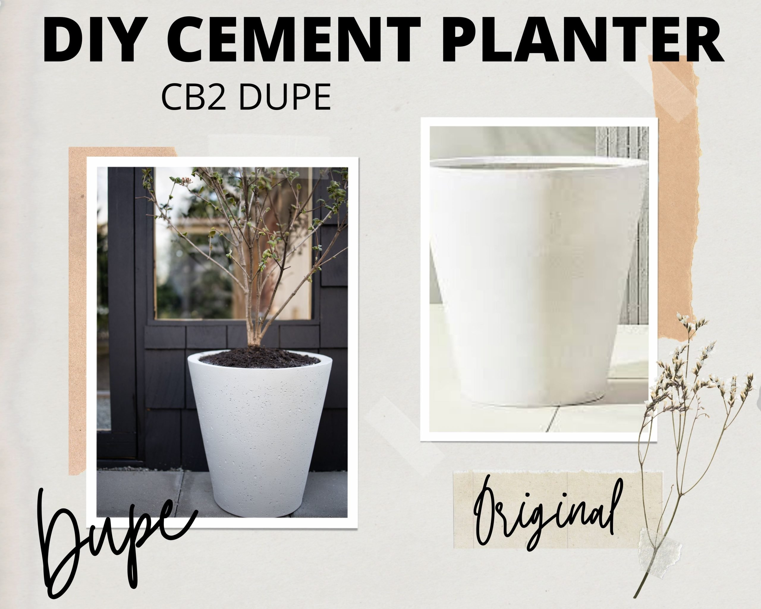 DIY Cement Planters - CB2 Inspired. How I DIY'd these plastic planters in under 30 minutes. Save hundreds on these cement planter dupes.